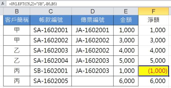 "IF(LEFT(C6,2)=""SB"",-E6,E6)"