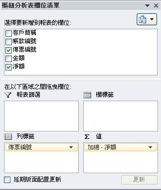 樞紐分析表欄位清單