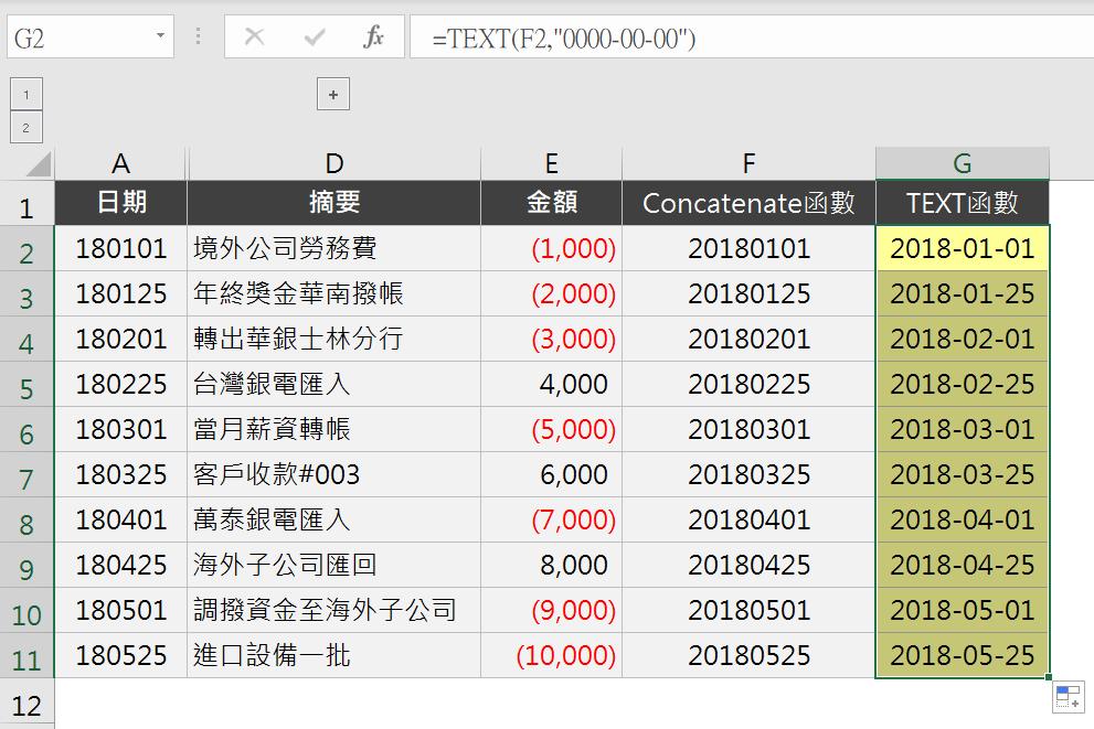 【Excel TEXT函數】銀行日記帳的日期格式不對?你需要TEXT、CONCATENATE、VALUE神救援 日期函數 第3張