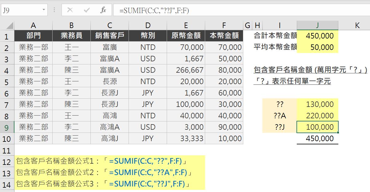Excel SUMIF特殊條件加總:萬用字元、數列、錯誤值 SUMIF 第6張