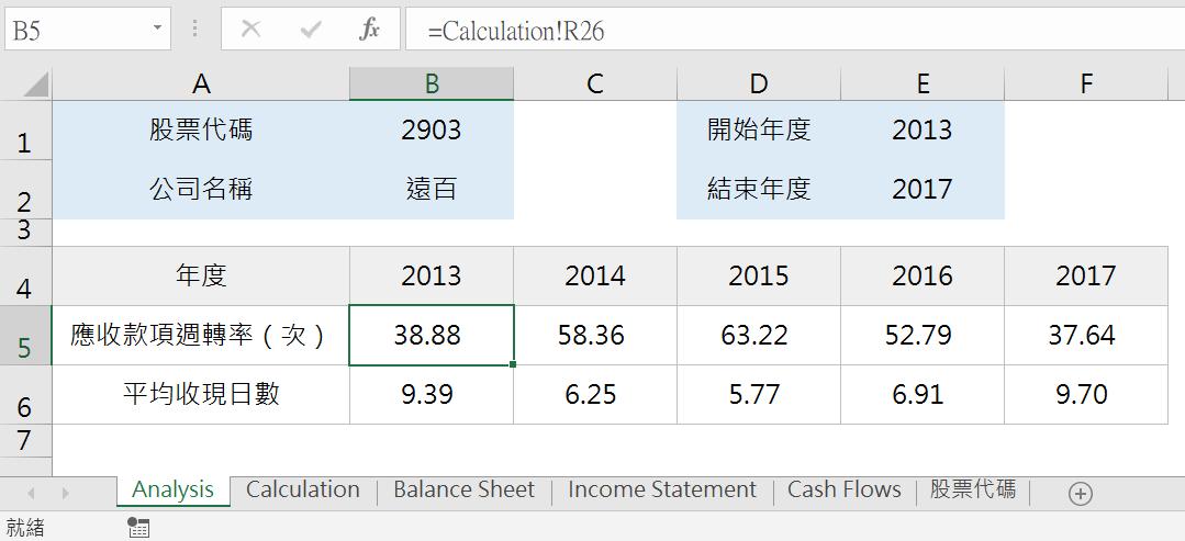 VBA陣列迴圈取得財務報表,分析平均收現日數 VBA財務分析 第8張