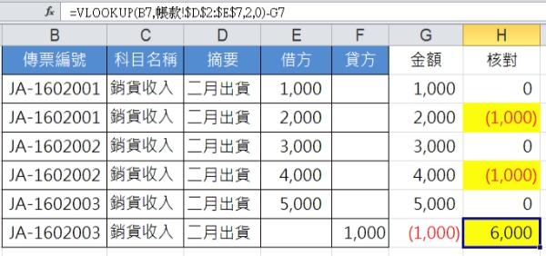 VLOOKUP(B7,帳款!$D$2:$E$7,2,0)-G7