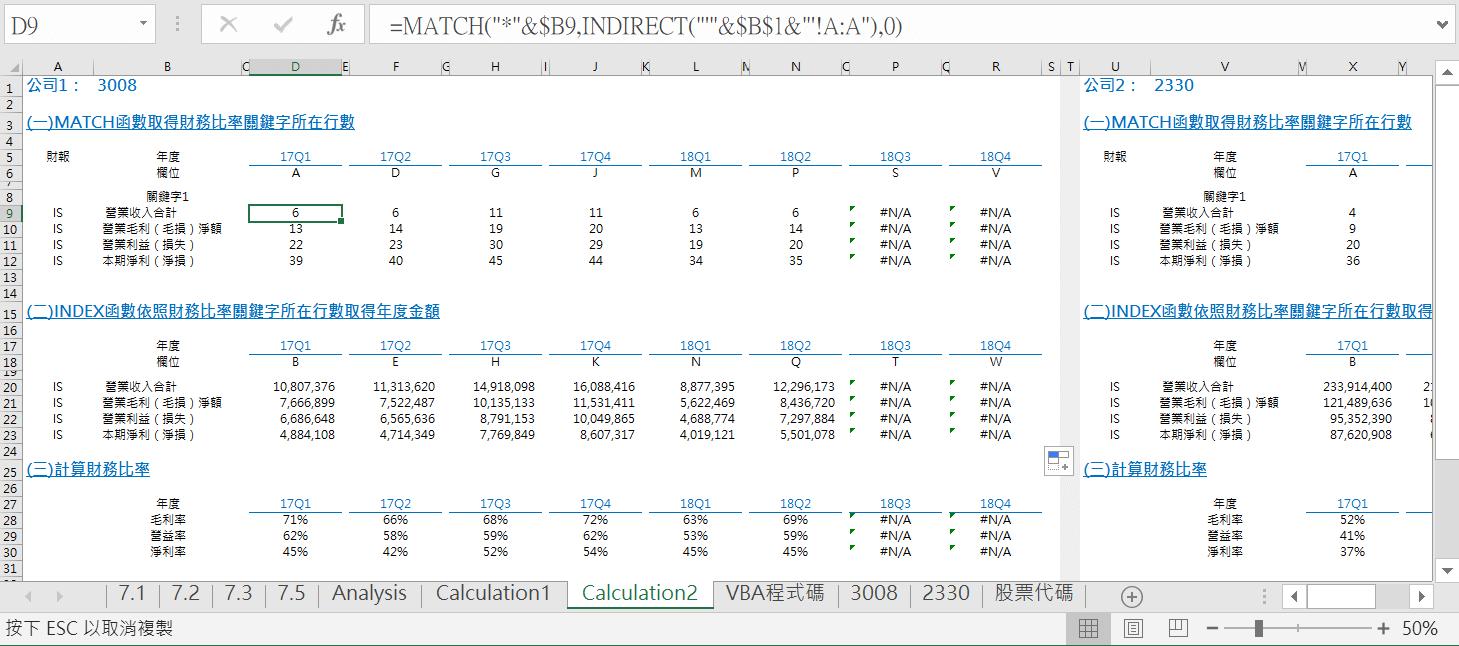 VBA迴圈取得8季度財報,Excel公式分析淨利毛利率 VBA財務分析 第5張