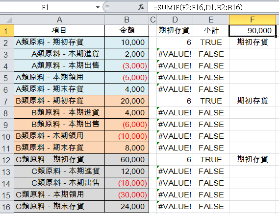 Excel成本會計:SEARCH、ISNUMBER、IF、SUMIF函數彙總成本表 成本會計 第8張