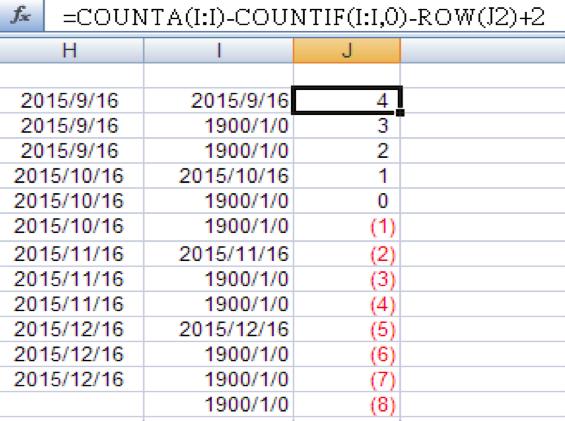 =COUNTA(I:I)-COUNTIF(I:I,0)-ROW(J2)+2