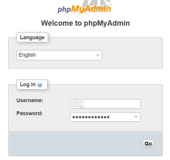 登錄「phpMyAdmin」